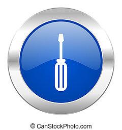web, blauwe , chroom, vrijstaand, gereedschap, pictogram, cirkel