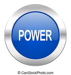 web, blauwe , chroom, vrijstaand, macht, pictogram, cirkel