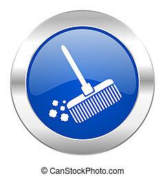web, blauwe , chroom, vrijstaand, pictogram, bezem, cirkel