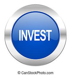 web, blauwe , chroom, vrijstaand, pictogram, cirkel, investeren