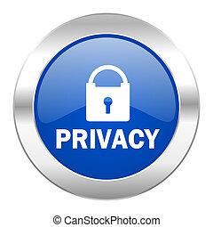 web, blauwe , chroom, vrijstaand, privacy, pictogram, cirkel