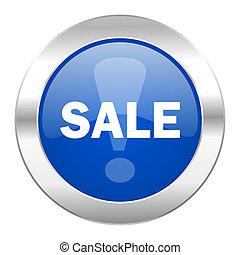 web, blauwe , chroom, vrijstaand, verkoop, pictogram, cirkel