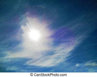 web, blauwe hemel, zon achtergrond