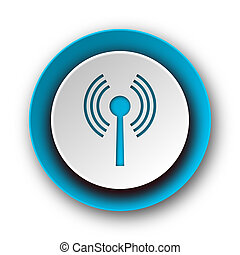 web, blu, wifi, moderno, fondo, icona, bianco