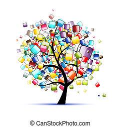 web, boompje, knopen, ontwerp, glanzend, jouw