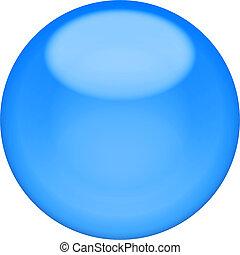 web, bottone, 3d, -, blu, lucido, sfera, isolato