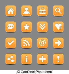 web, bottone, segno, fondamentale, arancia, raso bianco, icona