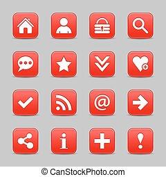 web, bottone, segno, fondamentale, raso bianco, rosso, icona