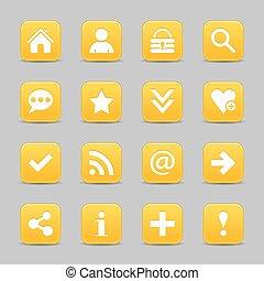 web, bottone, segno giallo, fondamentale, raso bianco, icona