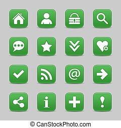 web, bottone, segno, verde, fondamentale, raso bianco, icona