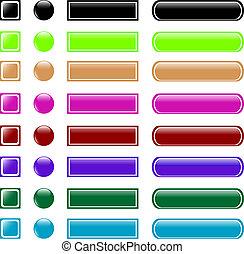 web, bottone, set, collezione