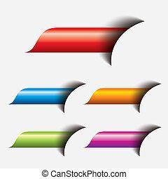 web, bottone, set, colorito