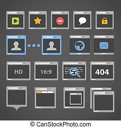web browser, iconos, colección