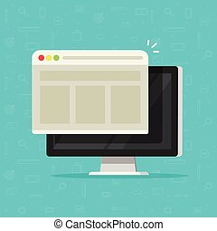 Web browser window on computer display vector illustration, flat cartoon design of desktop pc with web page or website, concept of internet network icon