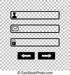 Web browser window with login page sign. Black icon on transparent background. Illustration.