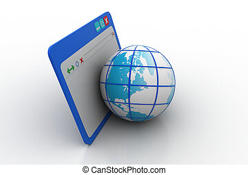 Web browser with globe