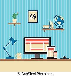 web, buero, wohnung, concept., workplace., vektor, design, interessiert, style.