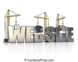 web building - 3d illustration of website sign with building...