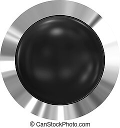 Web button 3d - black glossy realistic with metal frame