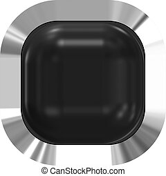 Web button 3d - black glossy realistic with metal frame, easy to expand