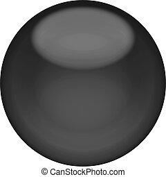 Web button 3d - black glossy sphere, isolated