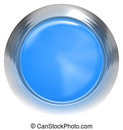 Web button 3d - blue glossy realistic with metal frame
