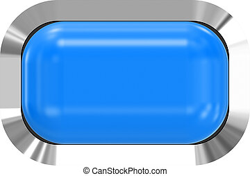 Web button 3d - blue glossy realistic with metal frame, easy to expand