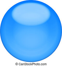 Web button 3d - blue glossy sphere, isolated