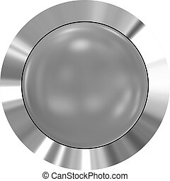 Web button 3d - gray glossy realistic with metal frame