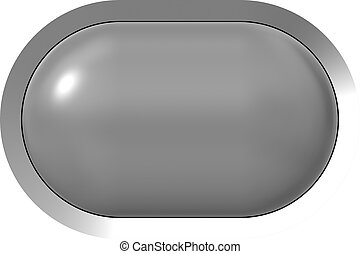 Web button 3d - gray glossy realistic with metal frame, easy to expand