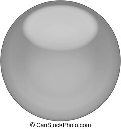 Web button 3d - gray glossy sphere, isolated
