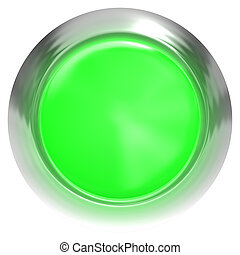 Web button 3d - green glossy realistic with metal frame