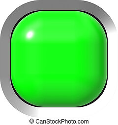 Web button 3d - green glossy realistic with metal frame, easy to expand