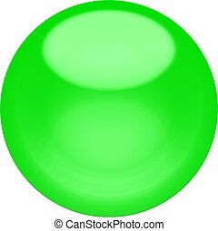 Web button 3d - green glossy sphere, isolated