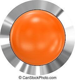 Web button 3d - orange glossy realistic with metal frame