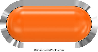 Web button 3d - orange glossy realistic with metal frame, easy to expand