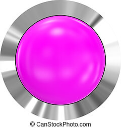 Web button 3d - purple glossy realistic with metal frame
