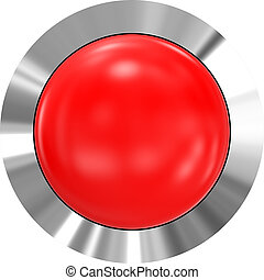 Web button 3d - red glossy realistic with metal frame