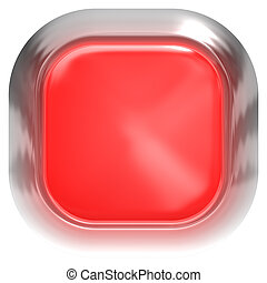 Web button 3d - red glossy realistic with metal frame, easy to expand