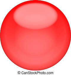 Web button 3d - red glossy sphere, isolated