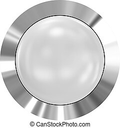 Web button 3d - white glossy realistic with metal frame