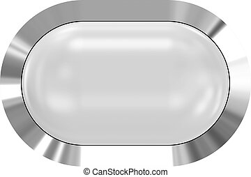 Web button 3d - white glossy realistic with metal frame, easy to expand