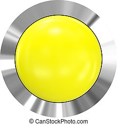 Web button 3d - yellow glossy realistic with metal frame