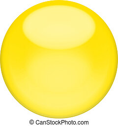 Web button 3d - yellow glossy sphere, isolated