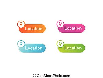 web button design with location icon in various colour