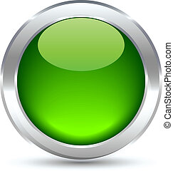 Web button. - Green shiny button. Vector illustration.