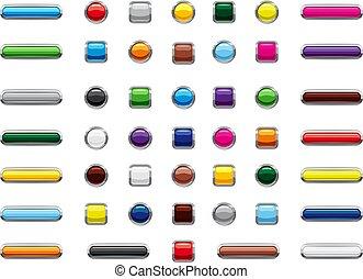 Web button icon set, cartoon style