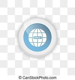 Web button on a transparent background.