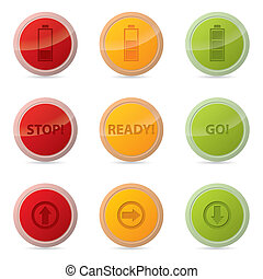 Web button set with various icons