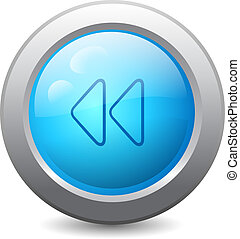 3d blue round web button with backward media icon